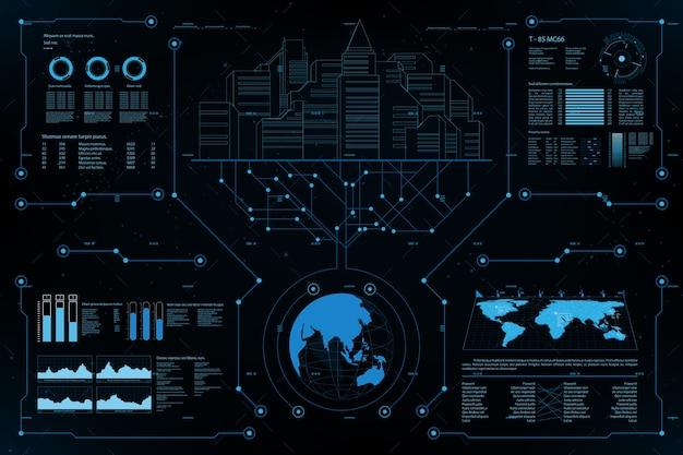 Futuristisches element panel.world kartendaten analyse informationen