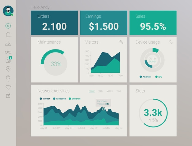 Futuristisches flaches design-materialstil-verwaltungs-app-dashboard