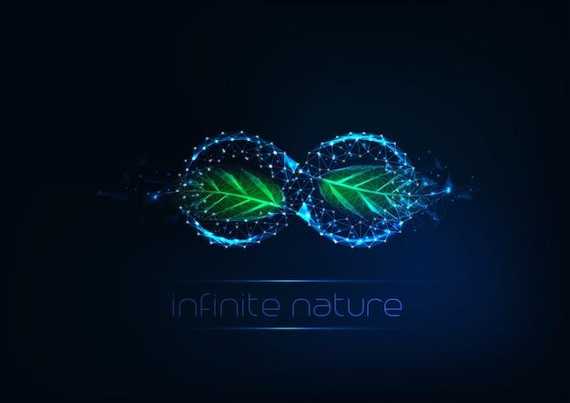 Futuristisches glühendes niedriges polygonales unendlichkeitszeichen mit grünen blättern