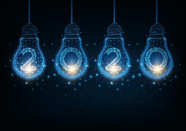 Futuristisches guten rutsch ins neue jahr-high-teches konzept mit belichteten niedrigen polyglühlampen und stellen des glühens