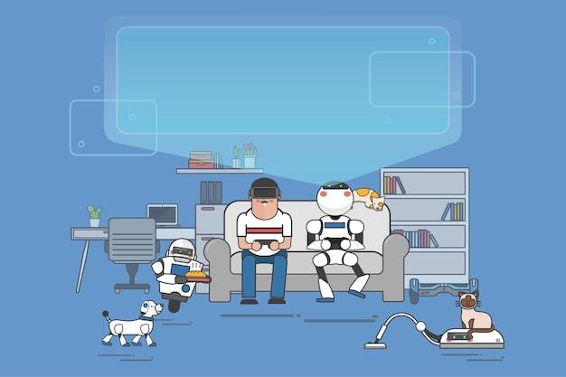 Futuristisches haus mit robotern