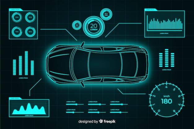 Futuristisches hologramm eines autos