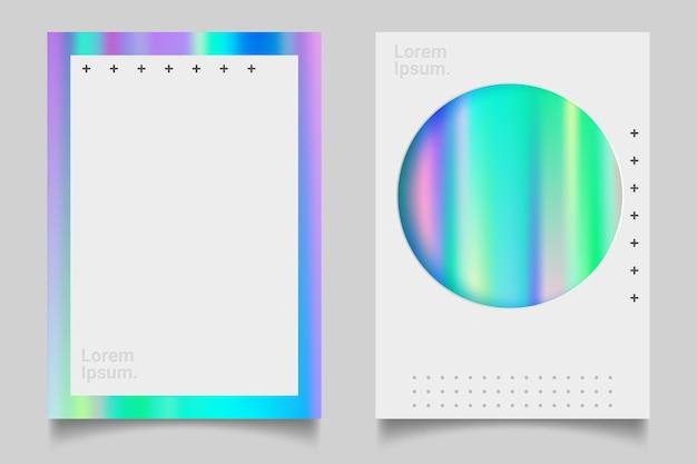 Futuristisches holographisches plakat mit gradientennetz