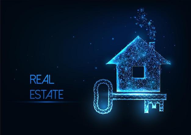 Futuristisches immobilienagenturkonzept mit leuchtend niedrigem polygonalen wohnhaus und türschlüssel