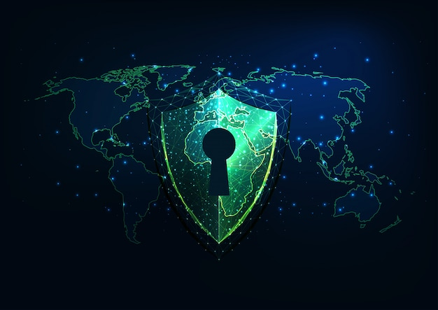 Futuristisches internetsicherheitskonzept mit glühendem niedrigem polygonalem schild mit zugang und weltkarte.