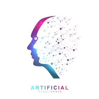 Futuristisches konzept für künstliche intelligenz und maschinelles lernen. menschliche big-data-visualisierung. wave-flow-kommunikation, wissenschaftliche vektorillustration. Premium Vektoren