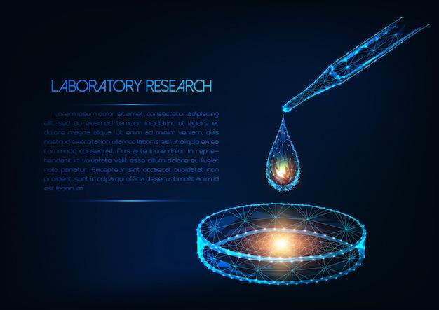 Futuristisches laborforschungskonzept mit glühendem flüssigem tropfen der niedrigen polygonalen pipette und petrischale