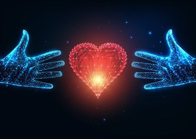 Futuristisches liebeskonzept mit leuchtend niedrigen polygonalen zwei menschlichen händen, die versuchen, ein rotes herz zu erreichen