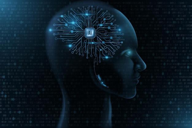 Futuristisches menschliches gesichtsmodell mit schnittstelle auf seinem kopf