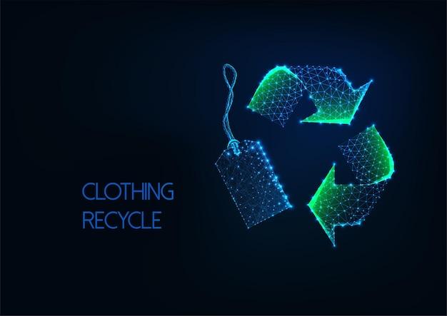 Futuristisches niedriges polygrünes recyclingschild mit einzelhandelspreisschild