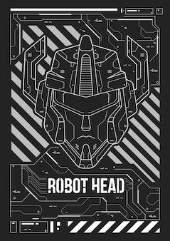 Futuristisches plakat mit einem roboterkopf.