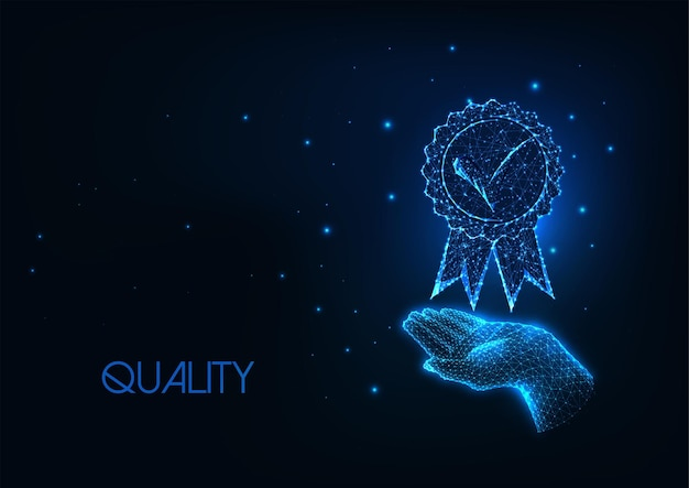 Futuristisches premium-qualitätskonzept mit leuchtend niedriger polygonaler handhalte-medaille
