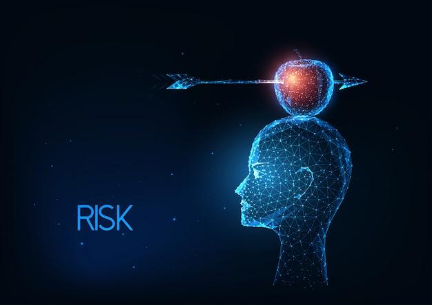 Futuristisches risikomanagement, geschäftsillustration mit leuchtend niedrigem polygonalen kopf mit apfel und pfeil