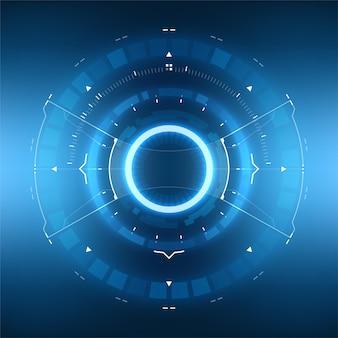 Futuristisches sci-fi-hud-kreiselement. virtual reality-technologiebildschirm.