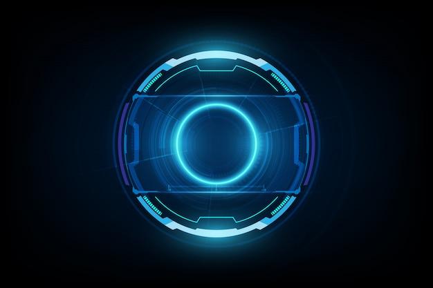 Futuristisches science-fiction-hud-kreis-element. abstrakter hologramm-hintergrund. virtuelle realität.