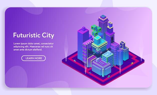 Futuristisches stadtkonzept. isometrische ansicht von ultravioletten neonmodernen gebäuden, geschäftszentrum mit wolkenkratzern. städtische straßenverkehrsinfrastruktur.