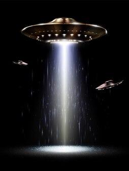 Futuristisches ufo auf dem schwarzen hintergrund