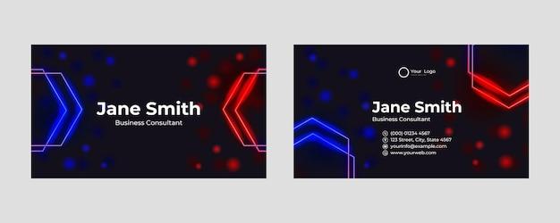 Futuristisches visitenkartendesign. moderne form mit abstraktem spiel- und technologiekonzept. luxuriöser dunkler hintergrund mit farbverlauf. vektorillustrations-druckvorlage