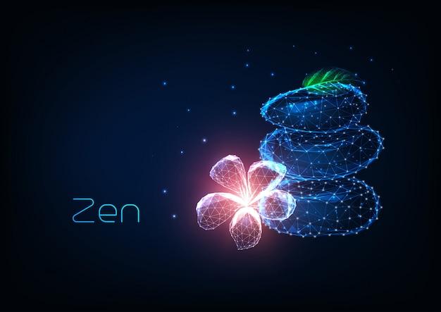 Futuristisches zen-konzept mit leuchtenden niedrigen polygonalen ausgleichssteinen, rosa plumeria-blume