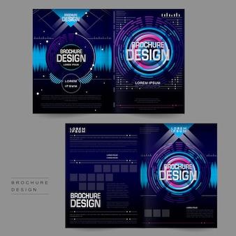 Futuristisches, zweifach gefaltetes broschüren-vorlagendesign im digitalen stil