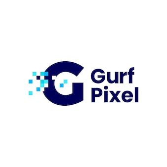 G-buchstaben-pixel-markierung digitale 8-bit-logo-vektor-symbol-illustration