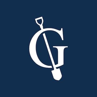 G-buchstaben-schaufel-spaten-logo-vektor-symbol-illustration