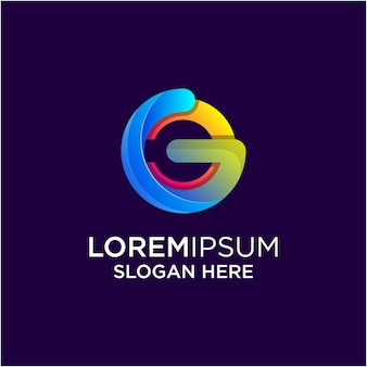 G letter awesome farbverlauf logo vorlage