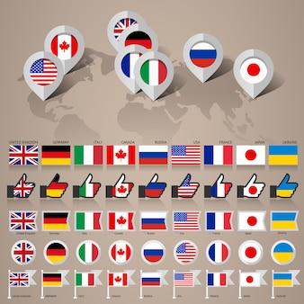 G8 flaggen mit karte