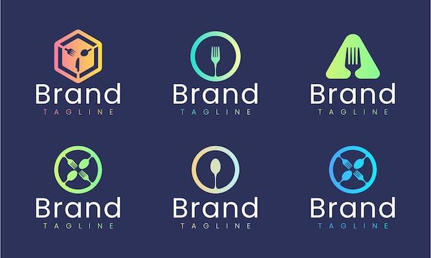 Gabel, löffel, messer-logo-design-vorlage. satz grafischer elemente, perfekt für jede restaurant- oder lebensmittelmarke