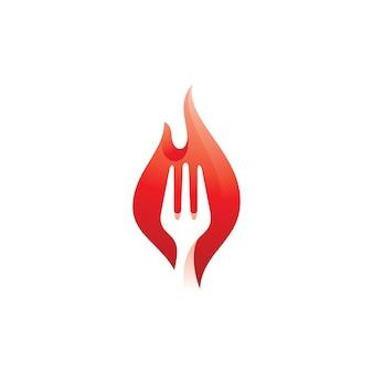 Gabel und hot fire flame logo