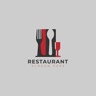 Gabelmesser-löffel und glas für lebensmittelrestaurant-logo-design-vorlage
