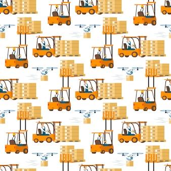 Gabelstapler-auto voll des kastens und des fliegenden drohnen-musters