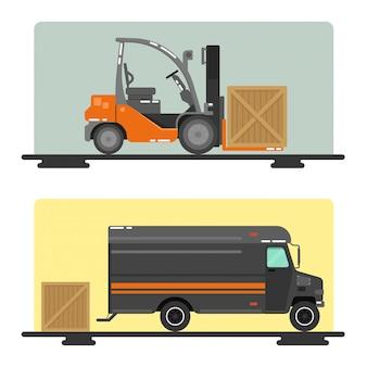 Gabelstapler-lieferwagen logistikbranche