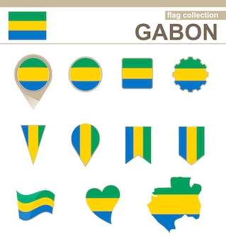 Gabun flag collection, 12 versionen