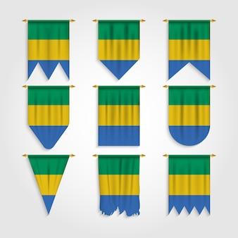 Gabun flagge in verschiedenen formen, flagge von gabun in verschiedenen formen
