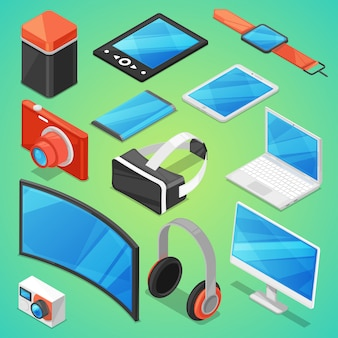 Gadget digitales gerät mit anzeige von laptop oder tablet und kamera isometrische illustration satz von elektronischen geräten virtuellen headset und kopfhörer auf hintergrund isoliert
