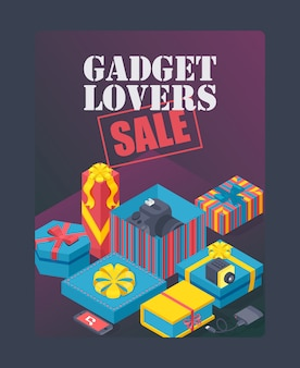 Gadget liebhaberverkaufsplakat teure geschenke in dekorativen schachteln