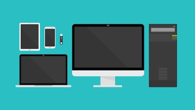 Gadget-technologie-kollektion mit flachen stil