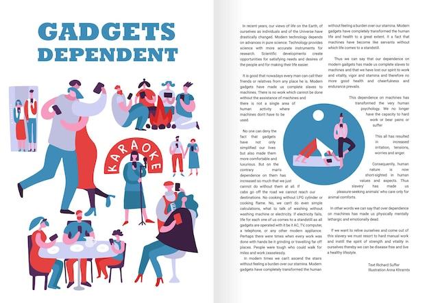 Gadgets-abhängiges infografik-layout mit personen, die ständig elektronische geräte an öffentlichen orten und im freien verwenden