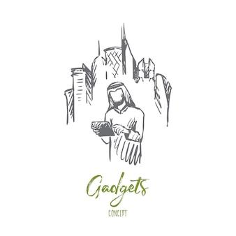 Gadgets illustration in der hand gezeichnet