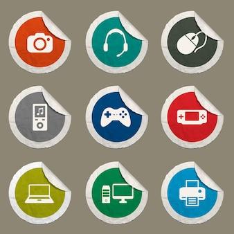 Gadgets-symbole für websites und benutzeroberfläche eingestellt