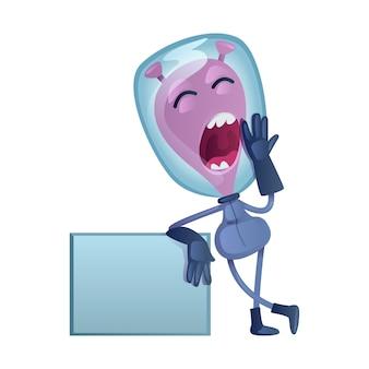 Gähnende flache karikaturillustration des marsmenschen. gaping alien mit leerem banner. gebrauchsfertige 2d-zeichenvorlage für werbung, animation und druckdesign. isolierter comic-held