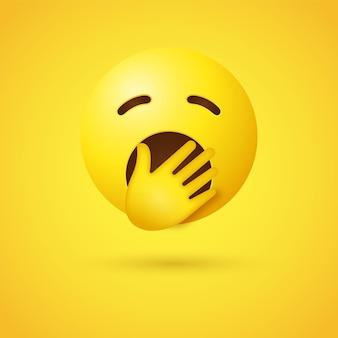 Gähnendes emoji-gesicht mit geschlossenen augen und hält die hand über den mund