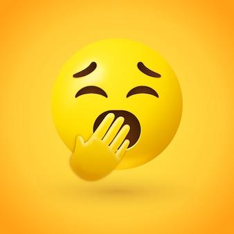 Gähnendes gesicht emoji mit geschlossenen augen und von einer hand bedecktem mund
