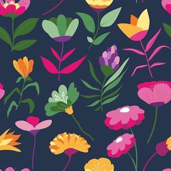 Gänseblümchen und lila blüten mit blättern und zarten blütenblättern. hintergrund für karte oder druck. blumenstrauß mit blühender flora. romantisches wiederholbares texturdesign. nahtloses muster, vektor im flachen stil