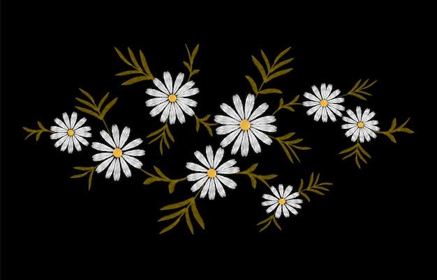 Gänseblümchenstickereidruckbeschaffenheitsblumen-anordnungsblätter