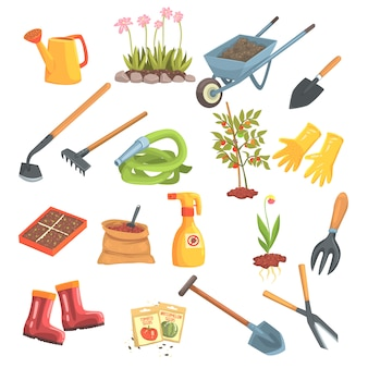 Gärtner ausrüstung satz von objekten benötigt für gartenarbeit und landwirtschaft isolierte illustrationen