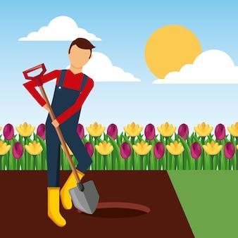 Gärtner, der ein loch mit schaufel in der gartenlandschaft gräbt