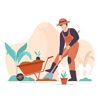 Gärtner, der flache vektorillustrationen setzt. männlicher handwerkercharakter, der gras mäht, isolierte packung von bäumen und büschen. gartengestaltung, pflanzenanbau und baumschule, gartenpflege.