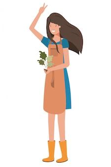 Gärtner der jungen frau mit betriebsavataracharakter